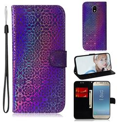 Laser Circle Shining Leather Wallet Phone Case for Samsung Galaxy J3 2017 J330 Eurasian - Purple