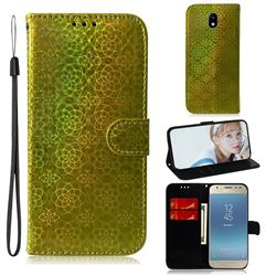 Laser Circle Shining Leather Wallet Phone Case for Samsung Galaxy J3 2017 J330 Eurasian - Golden
