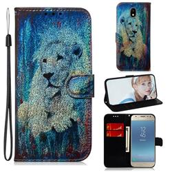 White Lion Laser Shining Leather Wallet Phone Case for Samsung Galaxy J3 2017 J330 Eurasian