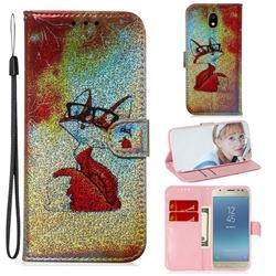Glasses Fox Laser Shining Leather Wallet Phone Case for Samsung Galaxy J3 2017 J330 Eurasian