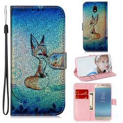 Cute Fox Laser Shining Leather Wallet Phone Case for Samsung Galaxy J3 2017 J330 Eurasian