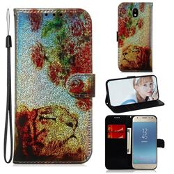 Tiger Rose Laser Shining Leather Wallet Phone Case for Samsung Galaxy J3 2017 J330 Eurasian