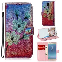 Magnolia Laser Shining Leather Wallet Phone Case for Samsung Galaxy J3 2017 J330 Eurasian