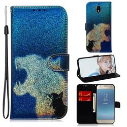 Cat and Leopard Laser Shining Leather Wallet Phone Case for Samsung Galaxy J3 2017 J330 Eurasian