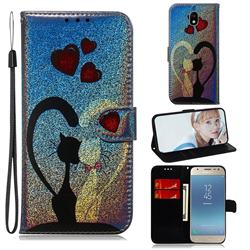 Love Cat Laser Shining Leather Wallet Phone Case for Samsung Galaxy J3 2017 J330 Eurasian