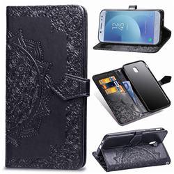 Embossing Imprint Mandala Flower Leather Wallet Case for Samsung Galaxy J3 2017 J330 Eurasian - Black