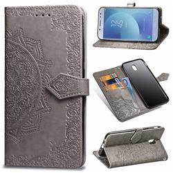 Embossing Imprint Mandala Flower Leather Wallet Case for Samsung Galaxy J3 2017 J330 Eurasian - Gray