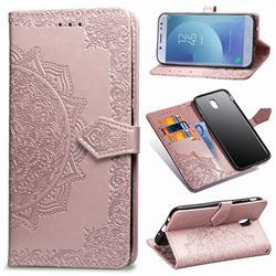 Embossing Imprint Mandala Flower Leather Wallet Case for Samsung Galaxy J3 2017 J330 Eurasian - Rose Gold