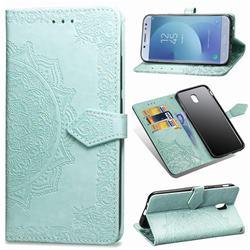 Embossing Imprint Mandala Flower Leather Wallet Case for Samsung Galaxy J3 2017 J330 Eurasian - Green