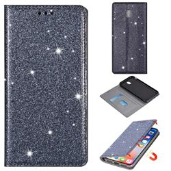 Ultra Slim Glitter Powder Magnetic Automatic Suction Leather Wallet Case for Samsung Galaxy J3 2017 J330 Eurasian - Gray