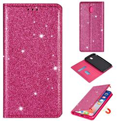 Ultra Slim Glitter Powder Magnetic Automatic Suction Leather Wallet Case for Samsung Galaxy J3 2017 J330 Eurasian - Rose Red