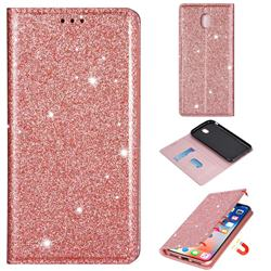 Ultra Slim Glitter Powder Magnetic Automatic Suction Leather Wallet Case for Samsung Galaxy J3 2017 J330 Eurasian - Rose Gold