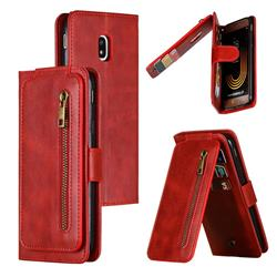 Multifunction 9 Cards Leather Zipper Wallet Phone Case for Samsung Galaxy J3 2017 J330 Eurasian - Red