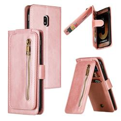 Multifunction 9 Cards Leather Zipper Wallet Phone Case for Samsung Galaxy J3 2017 J330 Eurasian - Rose Gold