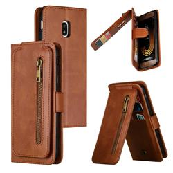 Multifunction 9 Cards Leather Zipper Wallet Phone Case for Samsung Galaxy J3 2017 J330 Eurasian - Brown
