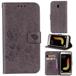 Embossing Rose Flower Leather Wallet Case for Samsung Galaxy J3 2017 J330 Eurasian - Grey