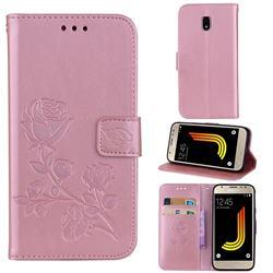 Embossing Rose Flower Leather Wallet Case for Samsung Galaxy J3 2017 J330 Eurasian - Rose Gold