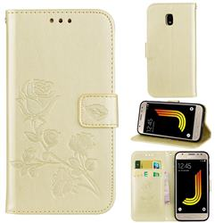 Embossing Rose Flower Leather Wallet Case for Samsung Galaxy J3 2017 J330 Eurasian - Golden