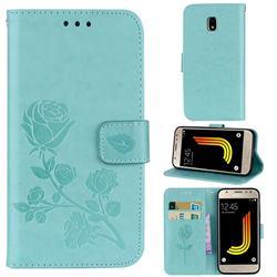 Embossing Rose Flower Leather Wallet Case for Samsung Galaxy J3 2017 J330 Eurasian - Green