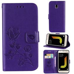 Embossing Rose Flower Leather Wallet Case for Samsung Galaxy J3 2017 J330 Eurasian - Purple
