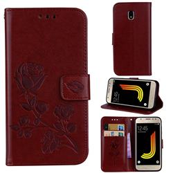 Embossing Rose Flower Leather Wallet Case for Samsung Galaxy J3 2017 J330 Eurasian - Brown