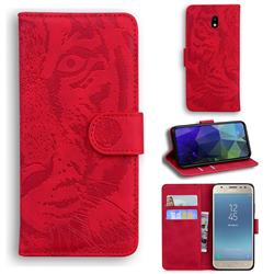 Intricate Embossing Tiger Face Leather Wallet Case for Samsung Galaxy J3 2017 J330 Eurasian - Red