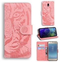 Intricate Embossing Tiger Face Leather Wallet Case for Samsung Galaxy J3 2017 J330 Eurasian - Pink