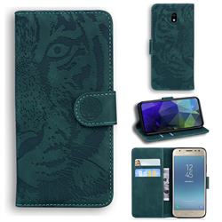 Intricate Embossing Tiger Face Leather Wallet Case for Samsung Galaxy J3 2017 J330 Eurasian - Green