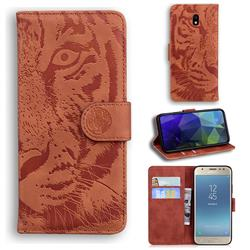 Intricate Embossing Tiger Face Leather Wallet Case for Samsung Galaxy J3 2017 J330 Eurasian - Brown