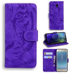 Intricate Embossing Tiger Face Leather Wallet Case for Samsung Galaxy J3 2017 J330 Eurasian - Purple