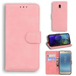 Retro Classic Skin Feel Leather Wallet Phone Case for Samsung Galaxy J3 2017 J330 Eurasian - Pink
