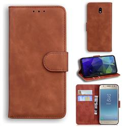 Retro Classic Skin Feel Leather Wallet Phone Case for Samsung Galaxy J3 2017 J330 Eurasian - Brown