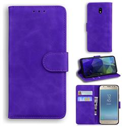 Retro Classic Skin Feel Leather Wallet Phone Case for Samsung Galaxy J3 2017 J330 Eurasian - Purple