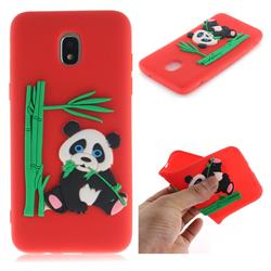 Panda Eating Bamboo Soft 3D Silicone Case for Samsung Galaxy J3 (2018) - Red