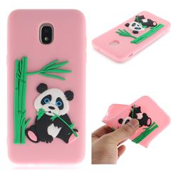 Panda Eating Bamboo Soft 3D Silicone Case for Samsung Galaxy J3 (2018) - Pink