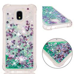 Dynamic Liquid Glitter Sand Quicksand TPU Case for Samsung Galaxy J3 (2018) - Green Love Heart