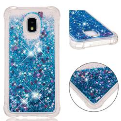Dynamic Liquid Glitter Sand Quicksand TPU Case for Samsung Galaxy J3 (2018) - Blue Love Heart