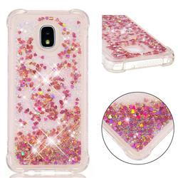 Dynamic Liquid Glitter Sand Quicksand TPU Case for Samsung Galaxy J3 (2018) - Rose Gold Love Heart