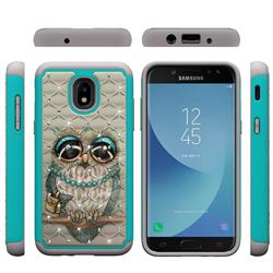 Sweet Gray Owl Studded Rhinestone Bling Diamond Shock Absorbing Hybrid Defender Rugged Phone Case Cover for Samsung Galaxy J3 (2018)