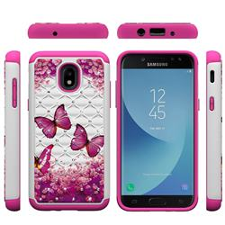 Rose Butterfly Studded Rhinestone Bling Diamond Shock Absorbing Hybrid Defender Rugged Phone Case Cover for Samsung Galaxy J3 (2018)