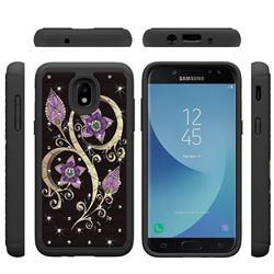 Peacock Flower Studded Rhinestone Bling Diamond Shock Absorbing Hybrid Defender Rugged Phone Case Cover for Samsung Galaxy J3 (2018)