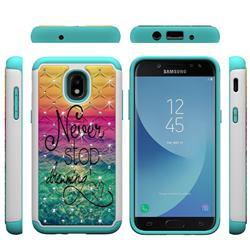 Colorful Dream Catcher Studded Rhinestone Bling Diamond Shock Absorbing Hybrid Defender Rugged Phone Case Cover for Samsung Galaxy J3 (2018)