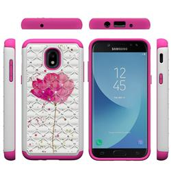 Watercolor Studded Rhinestone Bling Diamond Shock Absorbing Hybrid Defender Rugged Phone Case Cover for Samsung Galaxy J3 (2018)