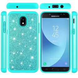 Glitter Rhinestone Bling Shock Absorbing Hybrid Defender Rugged Phone Case Cover for Samsung Galaxy J3 (2018) - Green