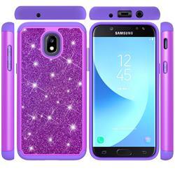 Glitter Rhinestone Bling Shock Absorbing Hybrid Defender Rugged Phone Case Cover for Samsung Galaxy J3 (2018) - Purple