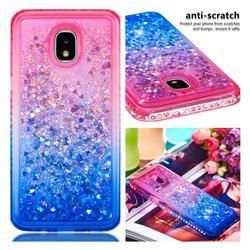 Diamond Frame Liquid Glitter Quicksand Sequins Phone Case for Samsung Galaxy J3 (2018) - Pink Blue