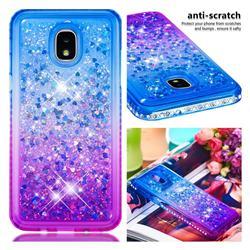 Diamond Frame Liquid Glitter Quicksand Sequins Phone Case for Samsung Galaxy J3 (2018) - Blue Purple