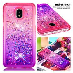Diamond Frame Liquid Glitter Quicksand Sequins Phone Case for Samsung Galaxy J3 (2018) - Pink Purple