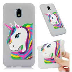 Rainbow Unicorn Soft 3D Silicone Case for Samsung Galaxy J3 (2018) - Translucent White