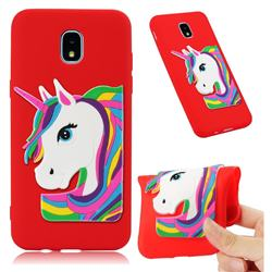 Rainbow Unicorn Soft 3D Silicone Case for Samsung Galaxy J3 (2018) - Red